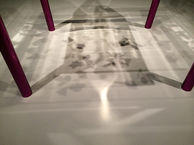 floral shadows cast on the ground - Miss Blanche chair by Shiro Kuramata, Asian Art Museum Gorgeous exhibit