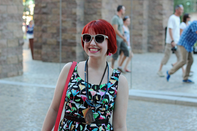 Martini Print Dress, Red Hair, & White Polka Dot Sunglasses