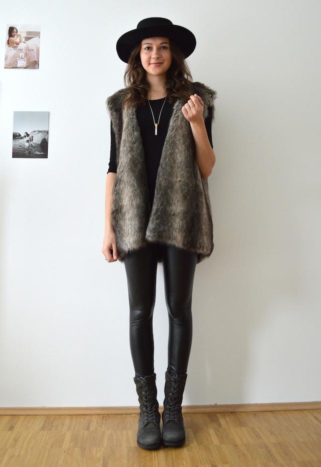 Oversized Fellweste Outfit