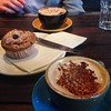 Lunchtime: cappuccino and half a raspberry muffin #fooddiary
