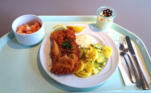 Baked coalfish filet with remoulade, lemon & potato cucumber salad / Gebackenes Seelachsfilet mit Remoulade, Zitronenecke & Kartoffel-Gurkensalat