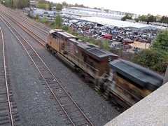 A UP freight seen from the Vancouver Ave viaduct