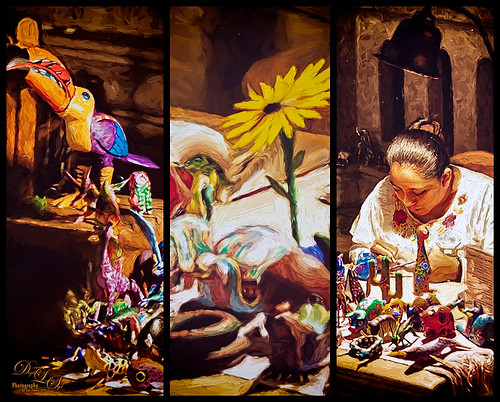 Image of woman painting wooden figures at Epcot in Mexico