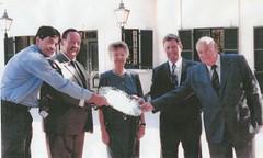 Gov. George Gawler silver salver. Criag Barnet, Dr Bruce Eastick AM, Governor of SA Dame Roma Mitchell, John Thorpe and Peter Whimpress