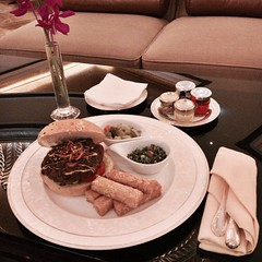 The legendary Emirates Palace 24K Gold Camel Burger at Le Café in Emirates Palace Hotel #InAbuDhabi. And believe me, it is delicious!