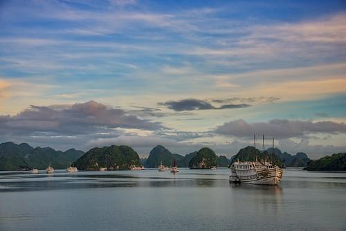 Sunrise at Ha Long Bay Vietnam