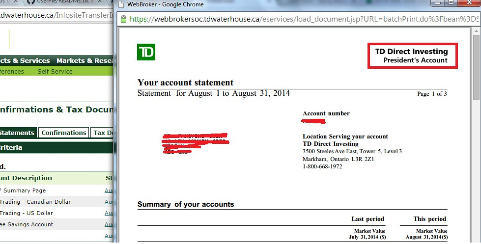 TD President's Account