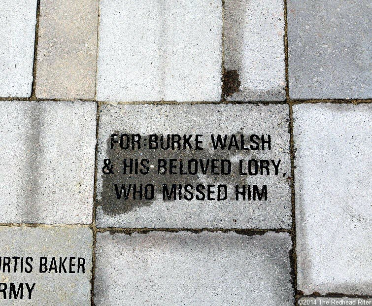 38th Parallel Memorial Garden in Milford Virginia stone reads For Burke Walsh and his beloved Lory who missed him