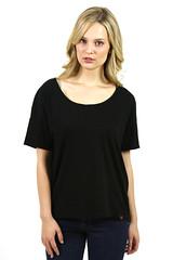 Womens Scoop Neck T-Shirt Black Short Sleeve