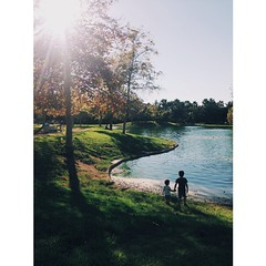 My babies, looking for ducks at the #pond. #sunlight #autumn #fall #lake #water