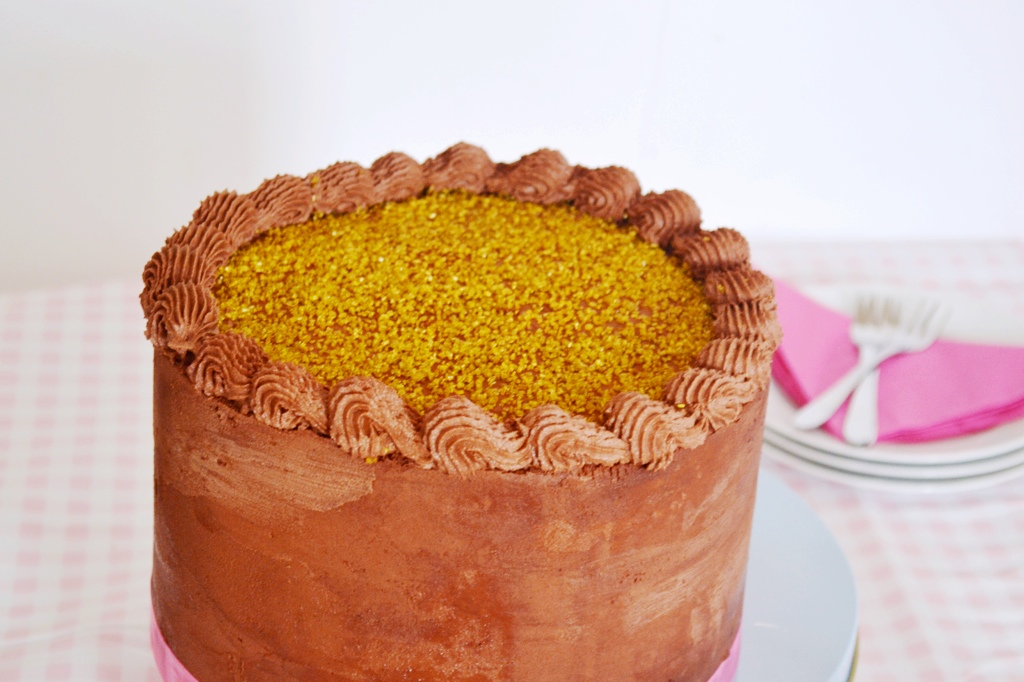 yellow cake with chocolate orange frosting