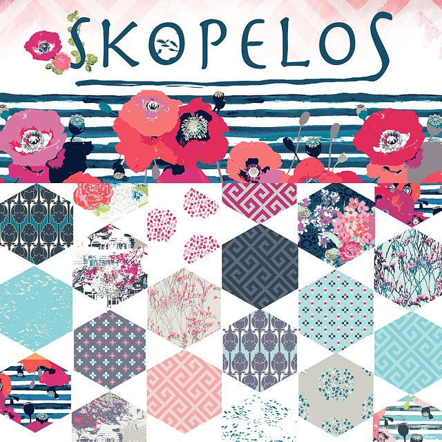 @artgalleryfabrics created this beautiful hexi composition with prints from my spring collection - Skopelos, available in April 2015 You can see better preview on theirs website, link in @artgalleryfabrics profile #skopelosfabric #artgalleryfabrics #agfco