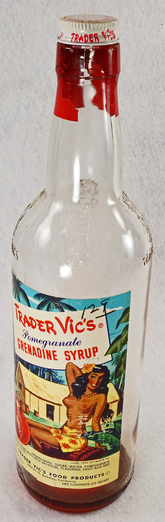 RD15320 Vintage Mid Century 1946 Bottle of Trader Vic's Pomegranate Grenadine Syrup with Topless Girl Tiki DSC09131