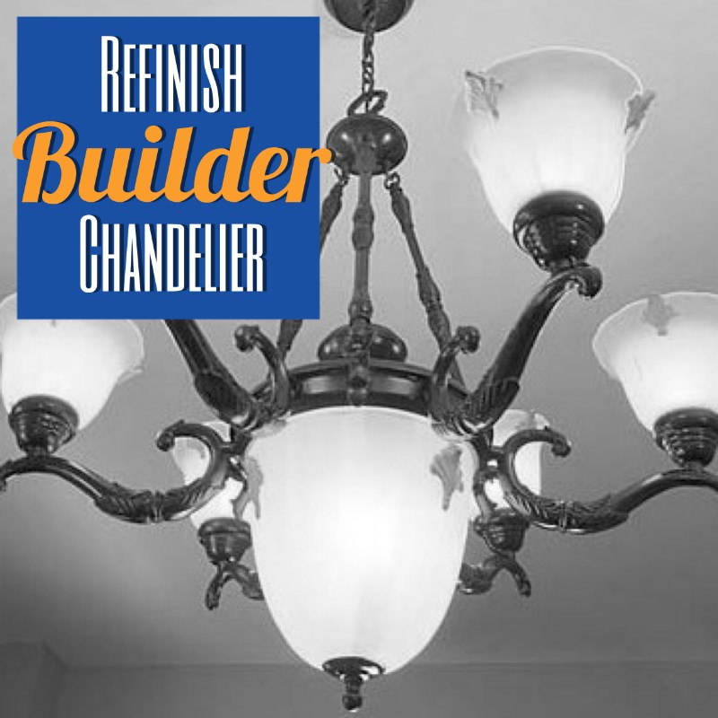 Refinish a builder chandelier for cheap with Rustoleum Spray Paint