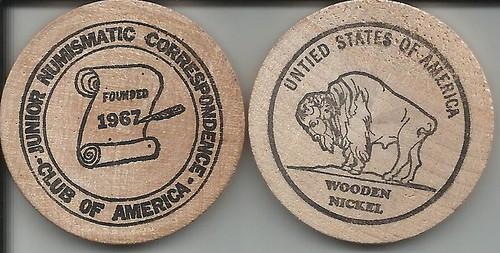 The Junior Numismatic Correspondence Club of America wooden nickel