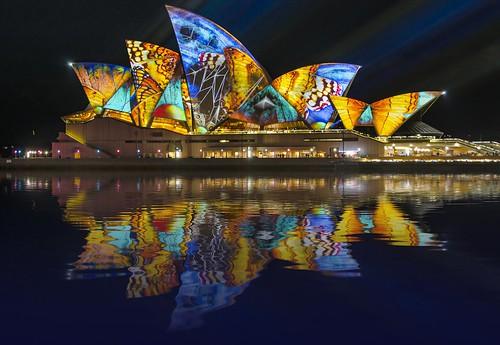 Vivid Sydney Opera house reflection 4