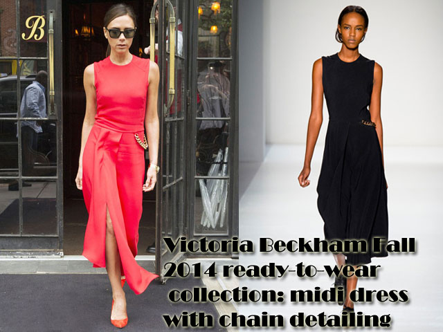Victoria-Beckham-Fall-2014-ready-to-wear-collection-midi-dress-with-chain-detailing, Victoria Beckham red midi dress with chain detailing, Victoria Beckham Fall 2014 ready-to-wear collection midi dress with chain detailing, midi dress with chain detailing, red dress, how to style a red dress, midi red dress, sleeveless red dress