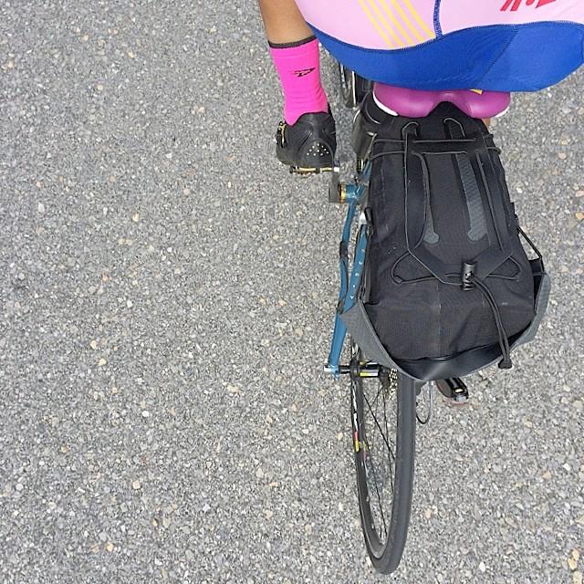 オルトリーブシートポストバッグ。良いです。中身は輪行グッズ、着替えとか。
