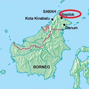Mapa de Sepilok en Borneo