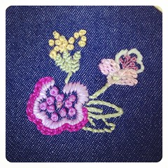 An experiment in embroidering on denim. Would you put something like this on your back pocket?