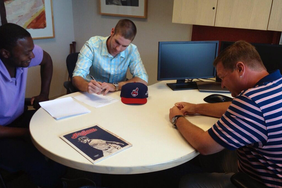 July 3, 2014 - Virginia Cavalier Mike Papi signs on the dotted line and is officially a member of the Cleveland Indians organization.