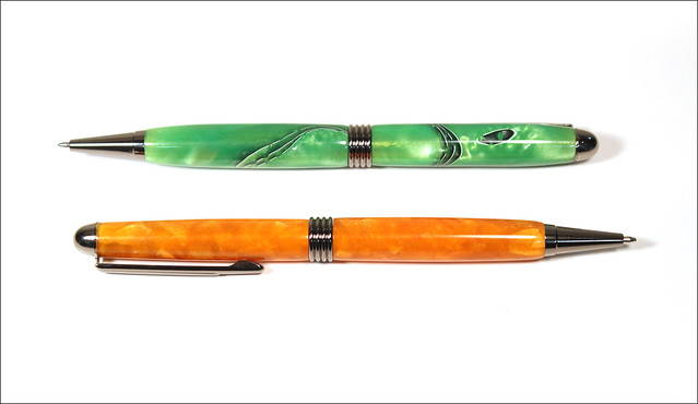 Orange and Green Streamline Pens