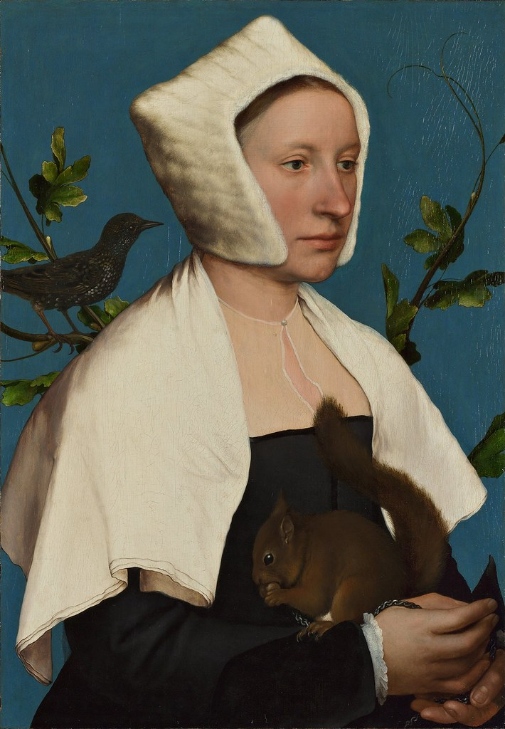 Hans the Younger Holbein - A Lady with a Squirrel and a Starling (c.1526)