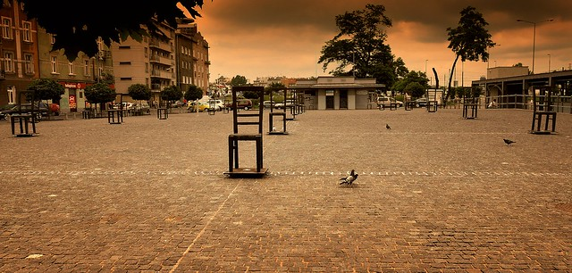 The empty chairs by the former Jewish Ghetto in Krakow, Poland