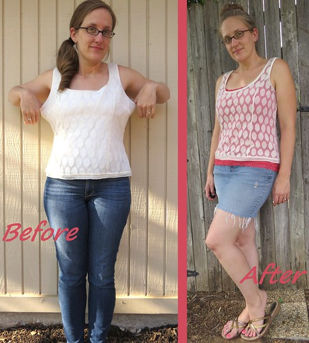Polka Dot Lace Tank - Before & After