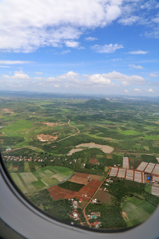 Flying over central highlands of Vietnam