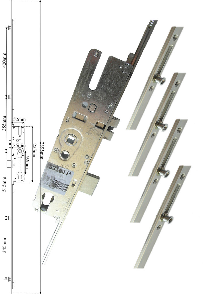 Maco Upvc Door Lock 4 Mushrooms Pz 92 35mm Backset Door