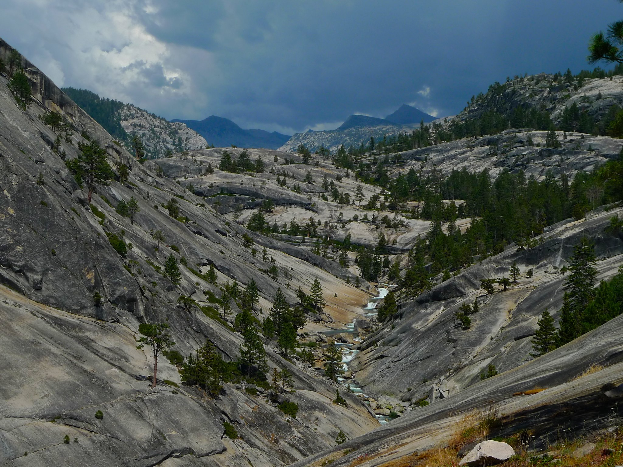 Looking up the Merced River towards Vogelsang. Again I find myself racing a thunderstorm.