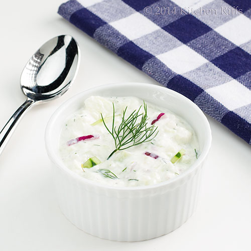 Chilled Cucumber Soup with Yogurt and Dill in bowl