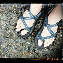 "My ""#chacotan feet in the quiet waters of #bellinghambay. Just feeling the water on my feet is soothing."
