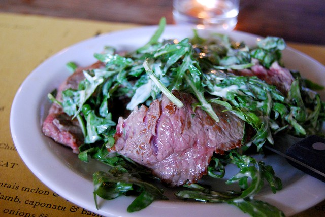 Polpo Sliced Flank Steak with White Truffle Cream & Rocket
