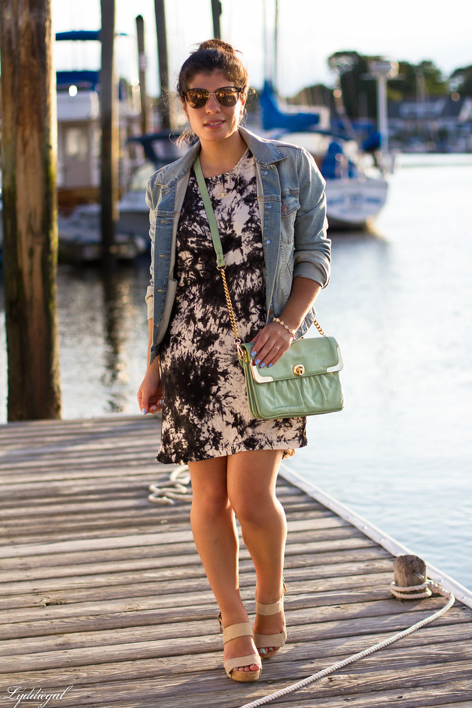 black and white tie dye dress, denim jacket.jpg