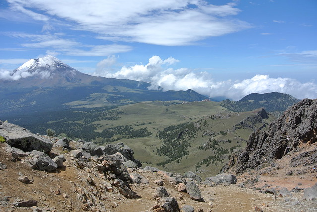 Looking out from one of the high passes back to Popocatepetl