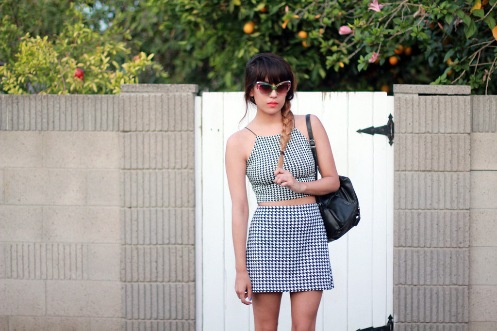 Missguided houndstooth matching set high neck crop top and skater skirt, vintage leather mini backpack, rainbow cat eye sunglasses, back to school