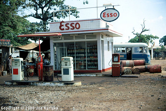 Downtown QUI NHON 1966-67 - Gas station at main intersection in Qui Nhon.