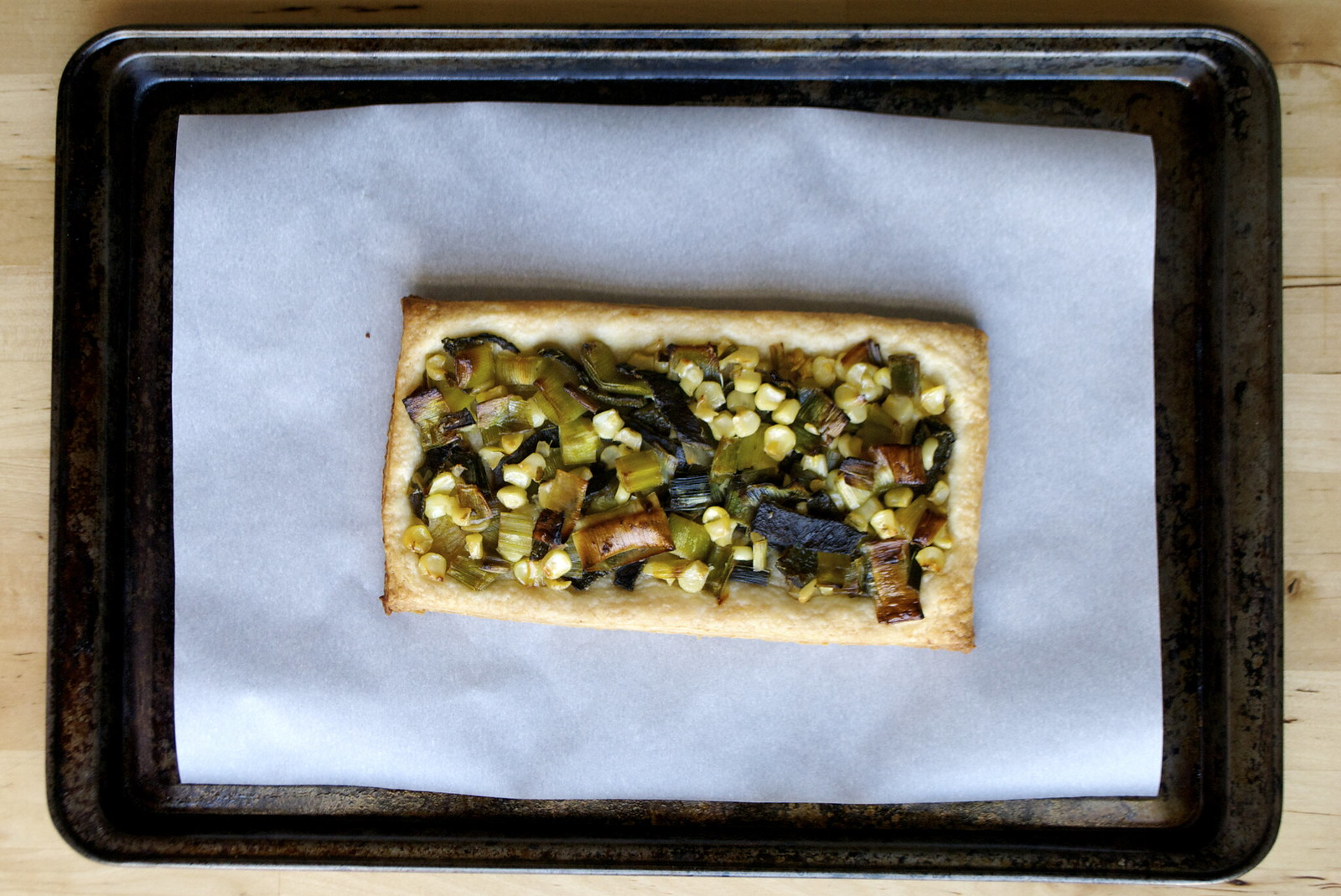 corn, leek and pasilla pepper tart