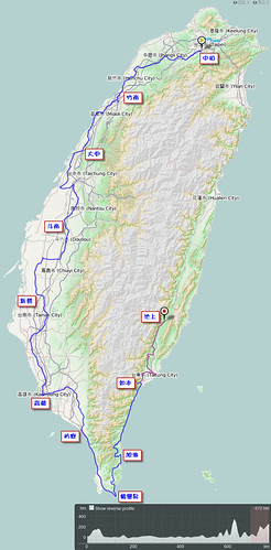 2011.10.09-18.單車環島.路線軌跡圖