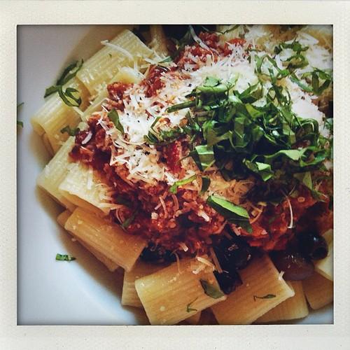 Pasta dinner with garden basil