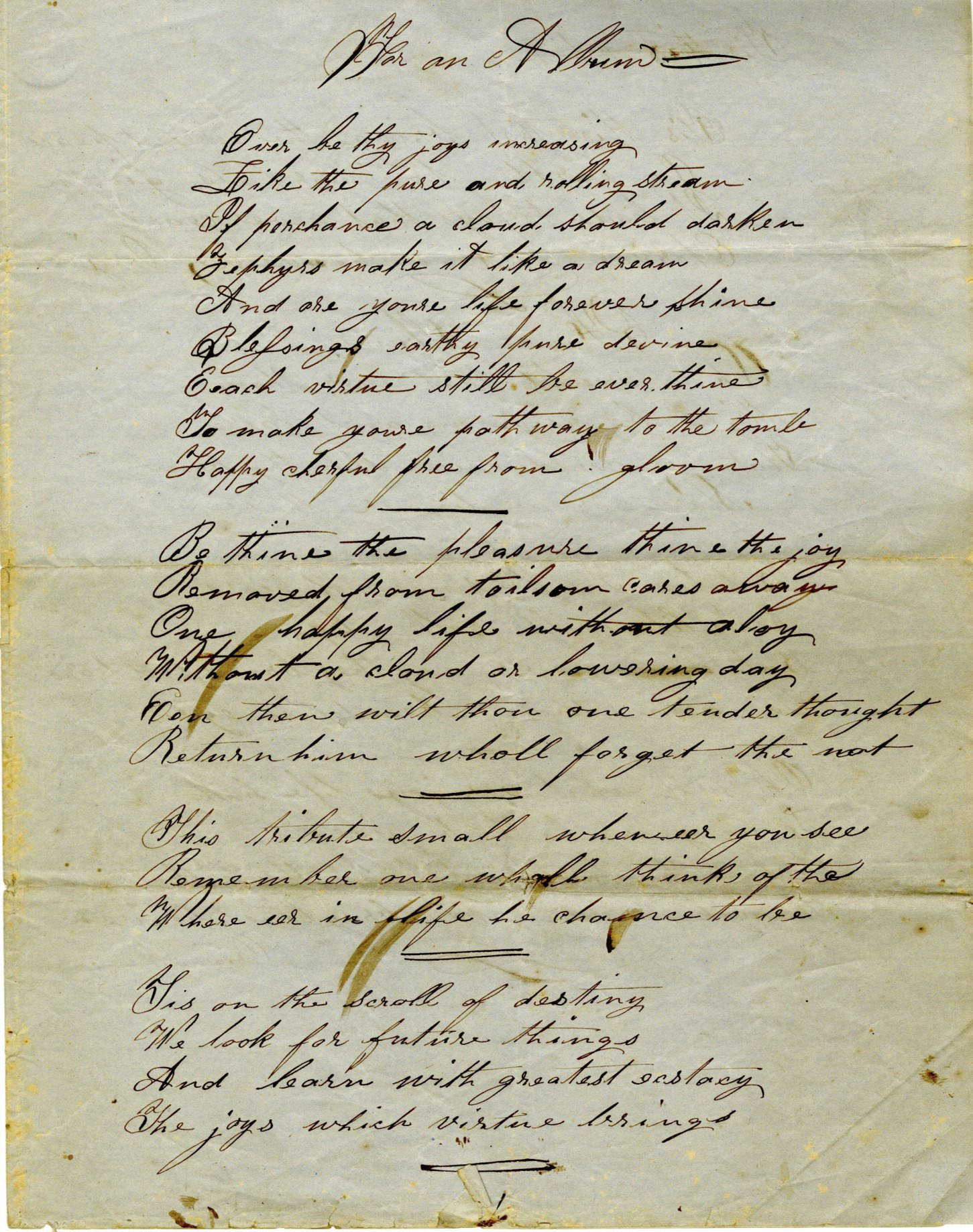 """For an Album,"" Poetry written by William Carson Stewart Thompson"