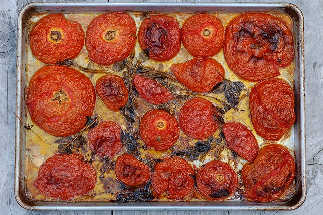 Slow roasted heirloom tomatoes with garlic and herbs by Eve Fox, the Garden of Eating, copyright 2014