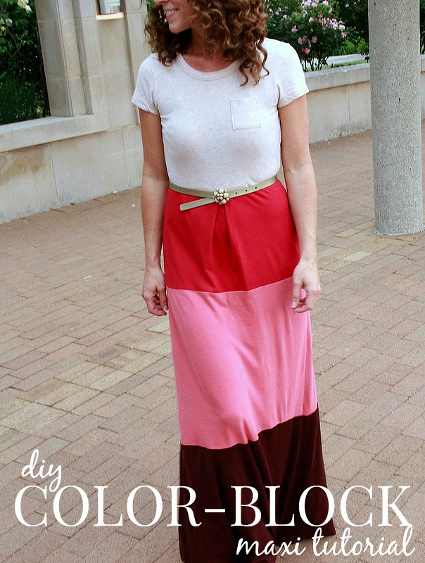 how to make a colorblock maxi tutorial via Kristina J blog