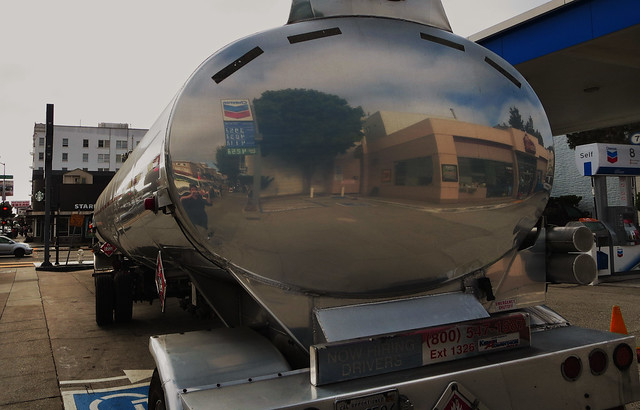 Gas Trailer truck at Chevron Gas station in The Sunset, San Francisco (2014)