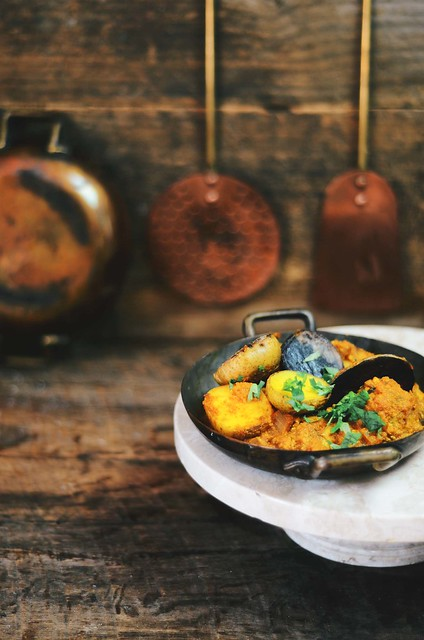 dum aloo - Pan Seared Baby Potaotes in a Spicy Indian Tomato Yogurt Gravy | A Brown Table