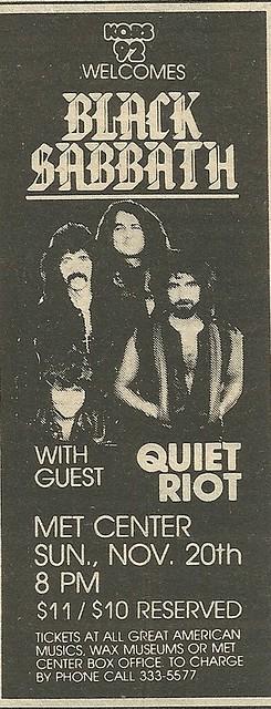 11/20/83 Black Sabbath/ Quiet Riot @ Met Center, Bloomington, MN