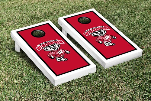 Wisconsin Badgers Cornhole Game Set Border Version 1