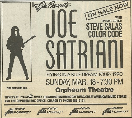03/18/90 Joe Satriani/ Steve Salas Color Code @ Orpheum Theatre, Minneapolis, MN